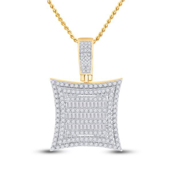 Baguette Diamond Square Kite Charm Pendant 1-1/4 Cttw 10KT Yellow Gold
