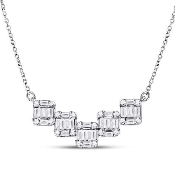 Round Baguette Diamond Square Pendant Necklace 1/2 Cttw 14KT White Gold