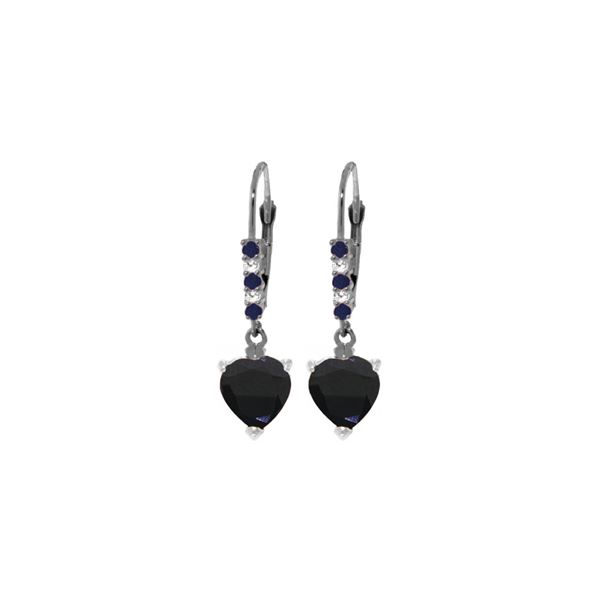 Genuine 3.28 ctw Sapphire & Diamond Earrings 14KT White Gold - REF-50P7H