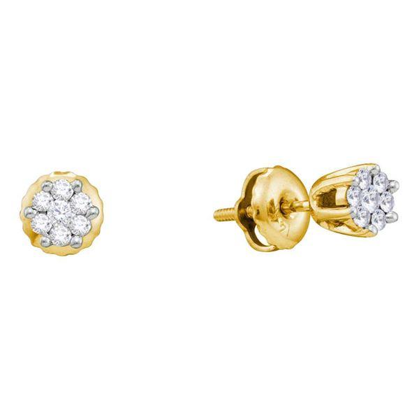 Round Diamond Flower Cluster Earrings 1/6 Cttw 14KT Yellow Gold