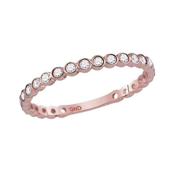 Round Diamond Bezel Set Stackable Band Ring 1/5 Cttw 10KT Rose Gold