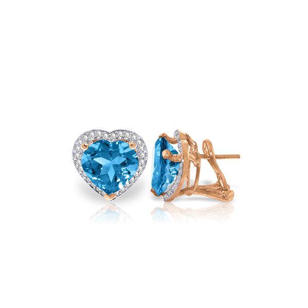Genuine 12.88 ctw Blue Topaz & Diamond Earrings 14KT Rose Gold - REF-107P3H
