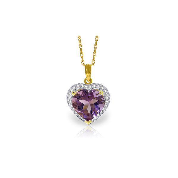 Genuine 3.24 ctw Amethyst & Diamond Necklace 14KT Yellow Gold - REF-59H3X