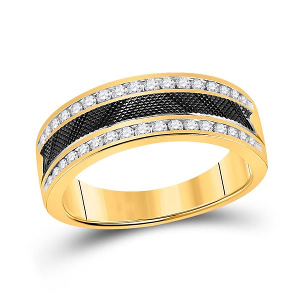 Round Diamond Wedding Double Row Band Ring 1/2 Cttw 14KT Yellow Gold