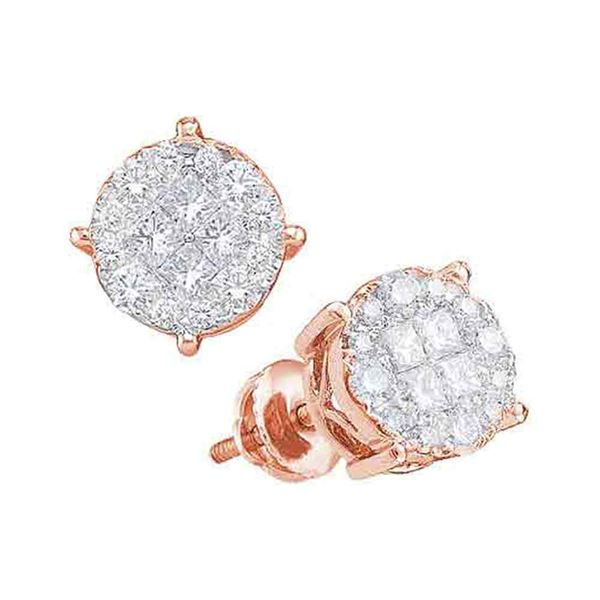 Princess Round Diamond Fashion Cluster Earrings 1/2 Cttw 14KT Rose Gold