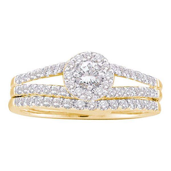 Diamond Split-Shank Bridal Wedding Ring Band Set 5/8 Cttw 14KT Yellow Gold