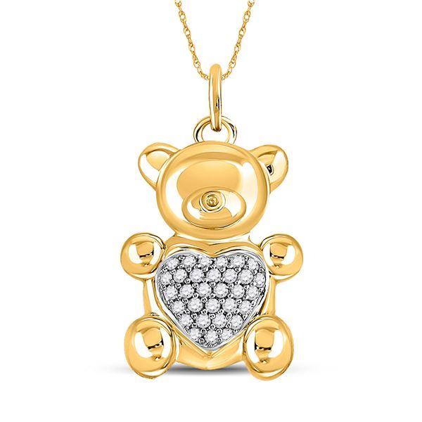 Round Diamond Bear Heart Animal Pendant 1/10 Cttw 10KT Yellow Gold