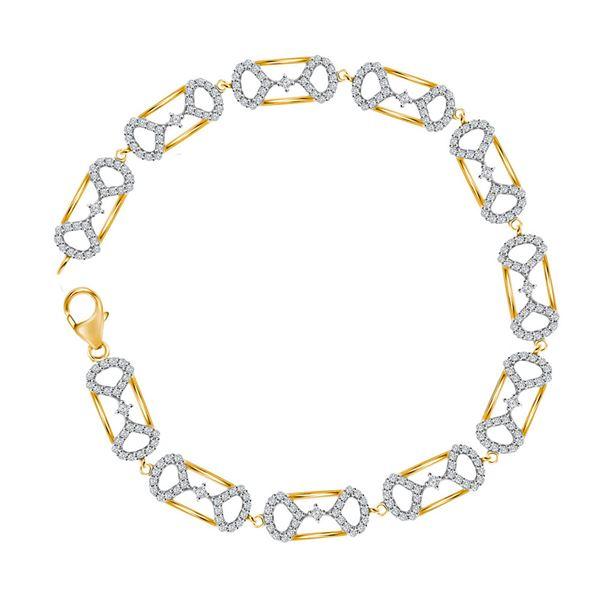 Round Diamond Fashion Bracelet 1 Cttw 10KT Yellow Gold