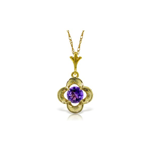 Genuine 0.55 ctw Amethyst Necklace 14KT Yellow Gold - REF-23P6H