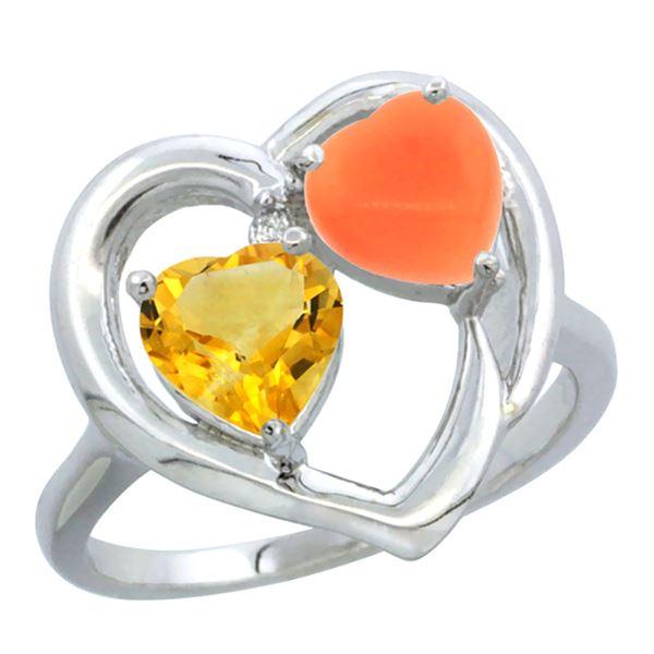 1.31 CTW Citrine & Diamond Ring 14K White Gold - REF-33M5A