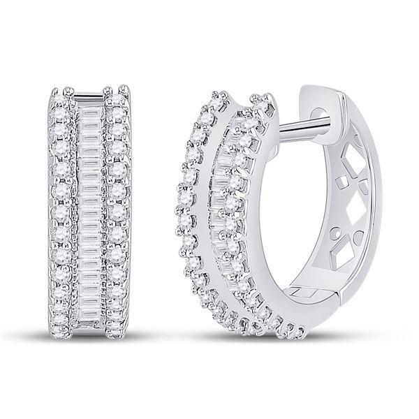 Round Baguette Diamond Hoop Earrings 1/2 Cttw 10KT White Gold