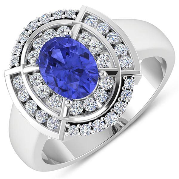 Natural 2.77 CTW Tanzanite & Diamond Ring 14K White Gold - REF-70T2H
