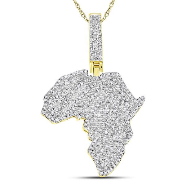 Round Diamond Africa Continent Charm Pendant 5/8 Cttw 10KT Yellow Gold