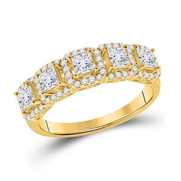 Princess Diamond 5-Stone Anniversary Ring 1 Cttw 14KT Yellow Gold