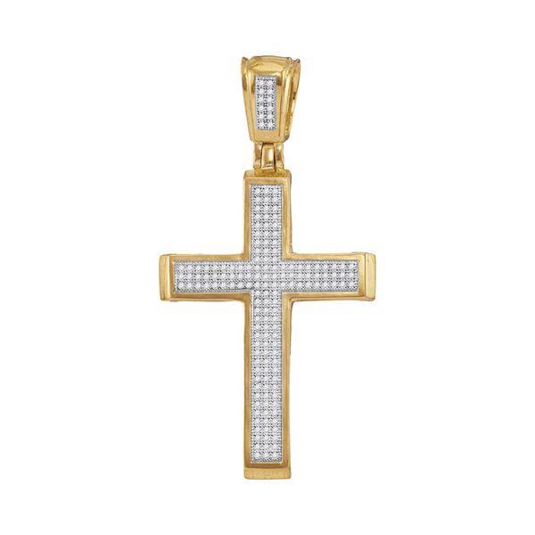 Round Diamond Roman Cross Charm Pendant 1/2 Cttw 10KT Yellow Gold