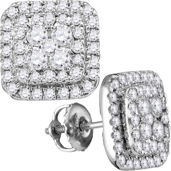 Round Diamond Square Cluster Earrings 1 Cttw 14KT White Gold