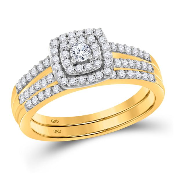 Diamond Split-shank Bridal Wedding Ring Band Set 1/2 Cttw 10KT Yellow Gold