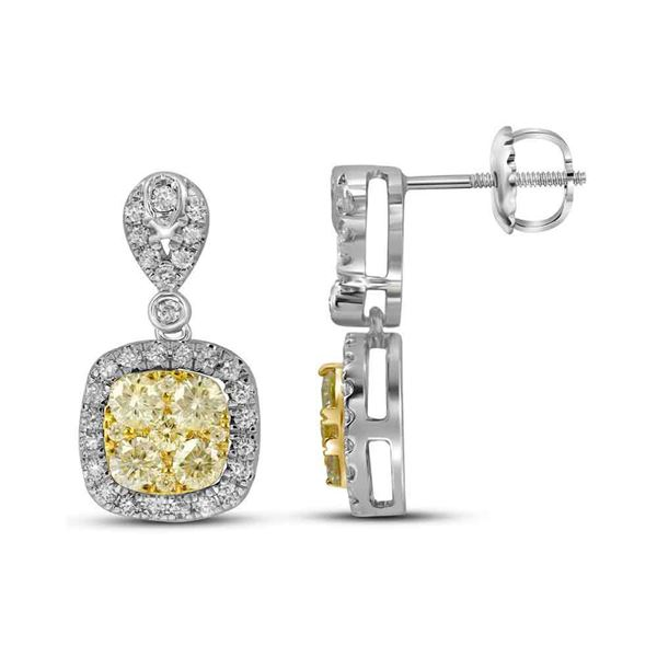 Round Yellow Diamond Square Dangle Earrings 1-1/5 Cttw 14KT White Gold