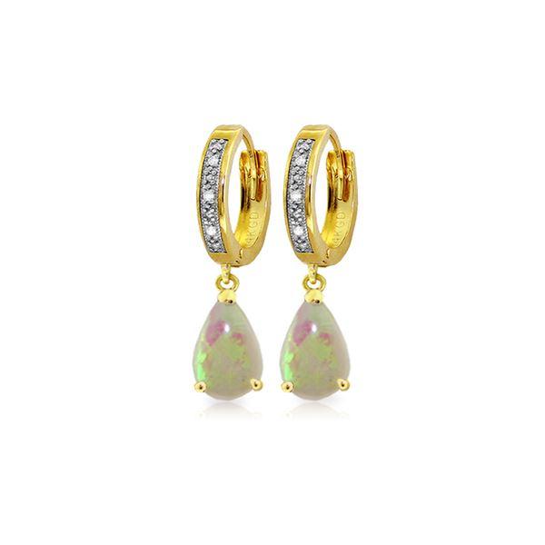 Genuine 1.58 ctw Opal & Diamond Earrings 14KT Yellow Gold - REF-60H3X