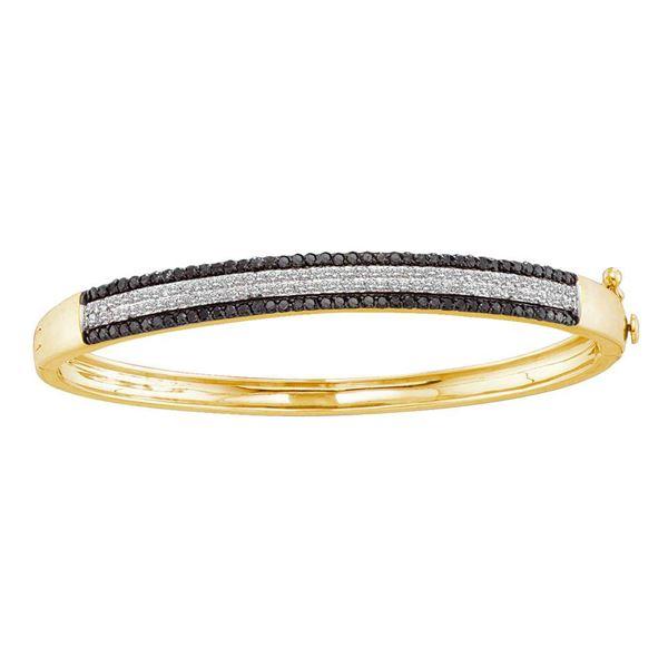 Round Black Color Enhanced Diamond Bangle Bracelet 1-3/8 Cttw 14KT Yellow Gold