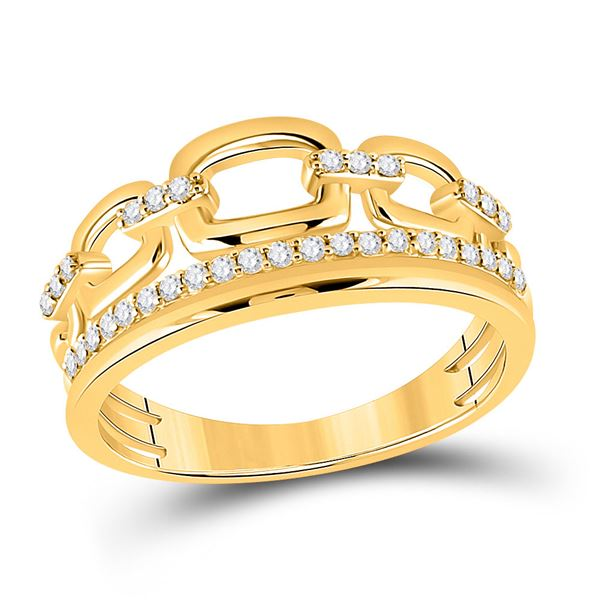 Round Diamond Chain Link Fashion Ring 1/4 Cttw 14KT Yellow Gold