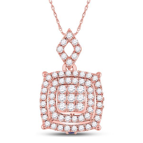 Round Diamond Square Cluster Pendant 1/2 Cttw 14KT Rose Gold