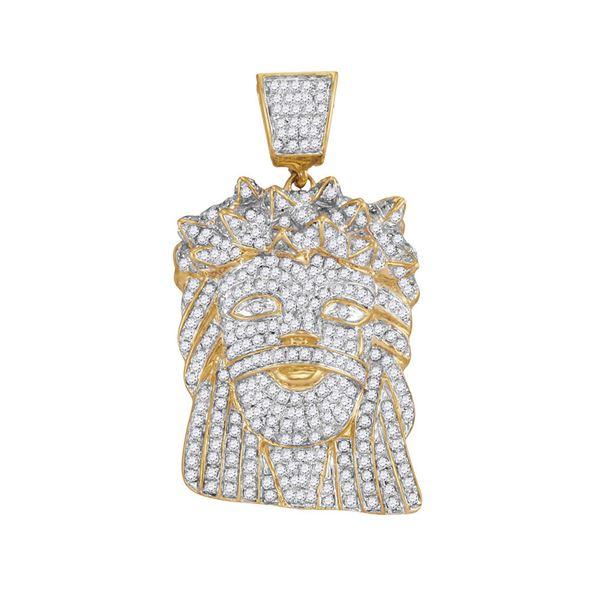 Round Diamond Jesus Face Charm Pendant 1-3/4 Cttw 10KT Yellow Gold