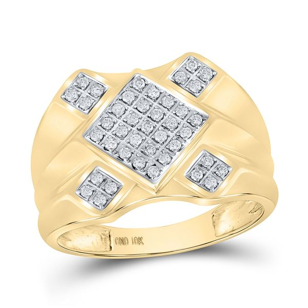 Round Diamond Diagonal Square Cluster Ring 1/3 Cttw 10KT Yellow Gold