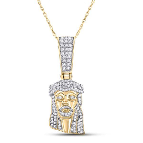 Round Diamond Jesus Face Charm Pendant 1/2 Cttw 10KT Yellow Gold