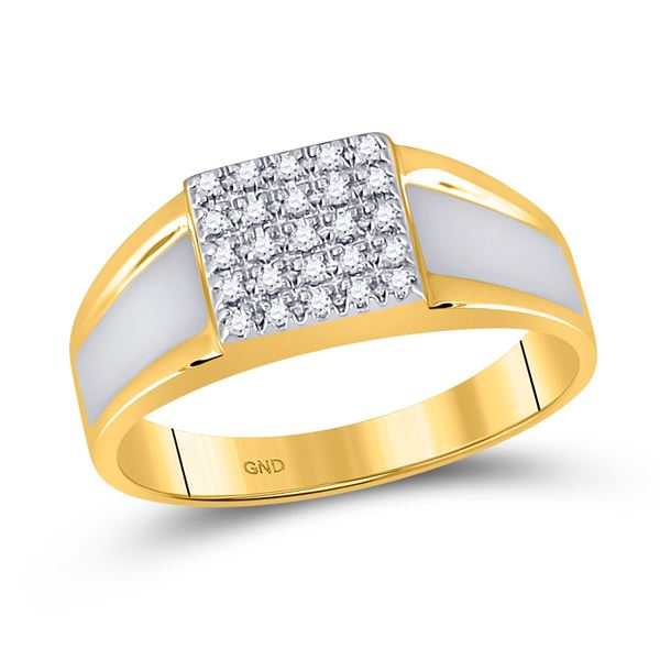 Round Diamond Square Ring 1/8 Cttw 10KT Two-tone Gold