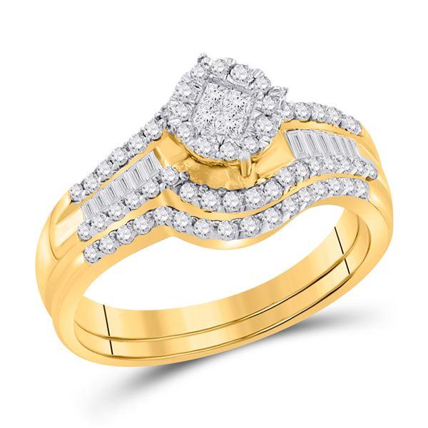 Bridal Wedding Ring Band Set 5/8 Cttw 14KT Yellow Gold