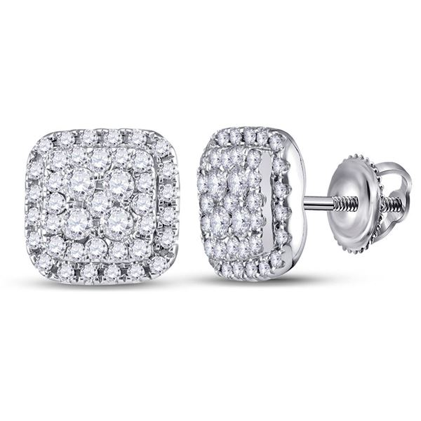 Round Diamond Square Earrings 1/2 Cttw 14KT White Gold