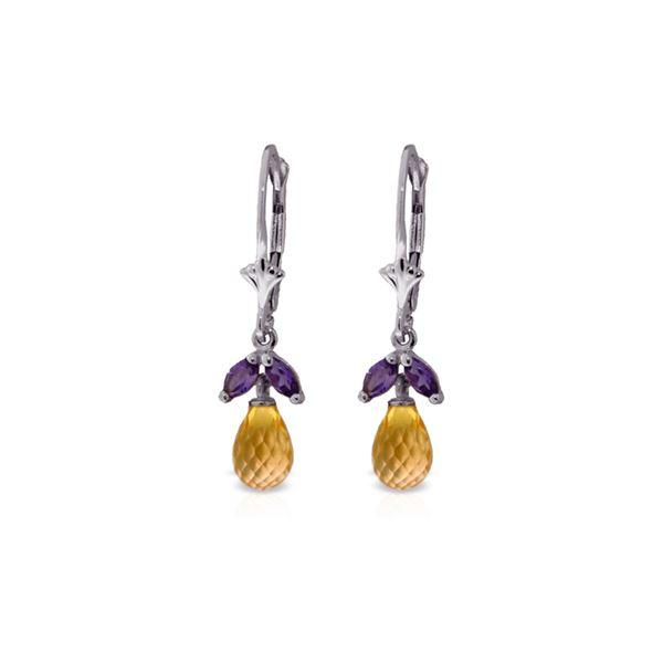 Genuine 3.4 ctw Citrine & Amethyst Earrings 14KT White Gold - REF-26P6H