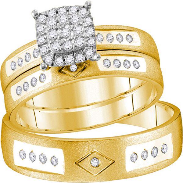 Diamond Cluster Matching Wedding Set 1/4 Cttw 14KT Yellow Gold
