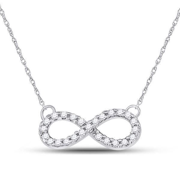 Round Diamond Infinity Pendant Necklace 1/5 Cttw 10KT White Gold