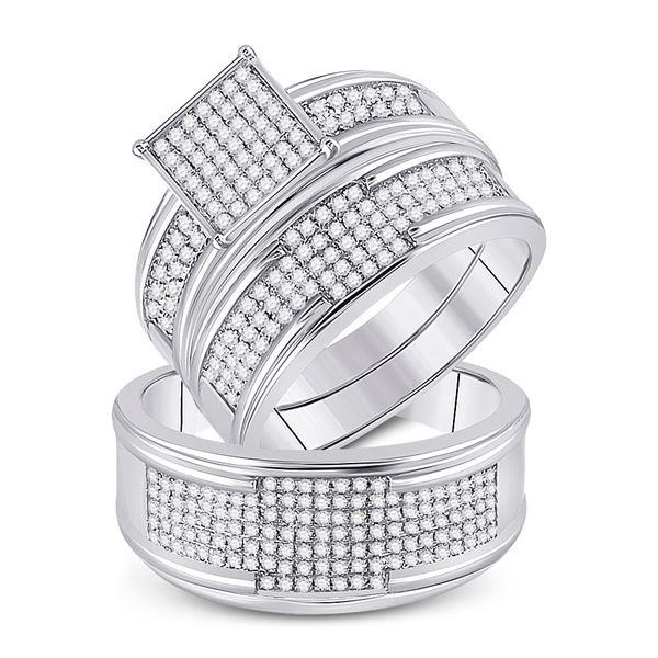 Diamond Square Matching Wedding Set 5/8 Cttw 10KT White Gold