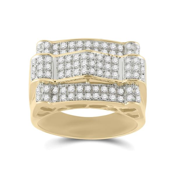 Round Diamond Arch Cluster Ring 1 Cttw 10KT Yellow Gold