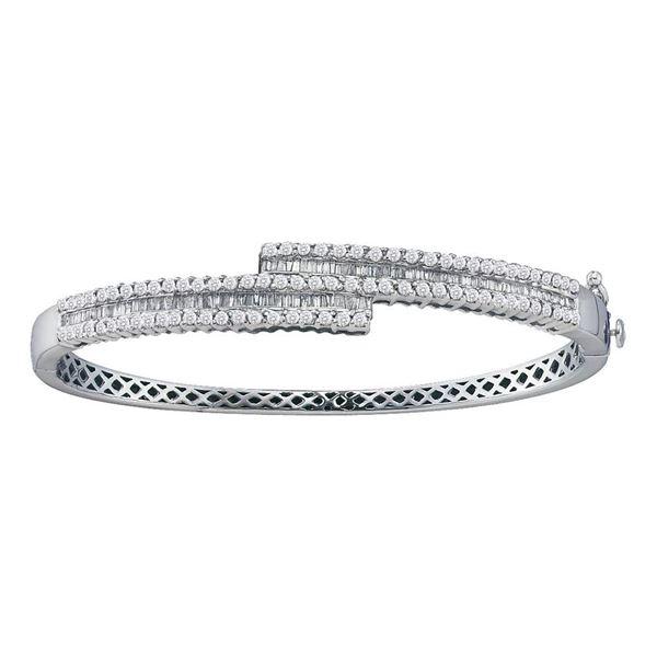 Baguette Diamond Bypass Bangle Bracelet 1-1/2 Cttw 14KT White Gold