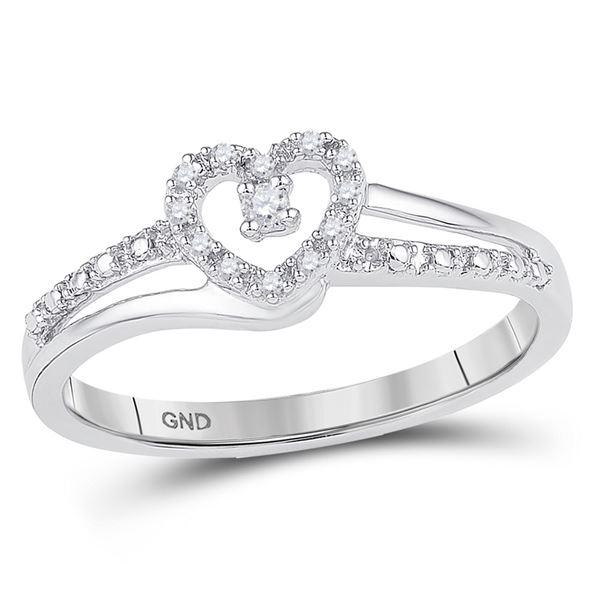 Round Diamond Heart Promise Ring 1/20 Cttw 10KT White Gold