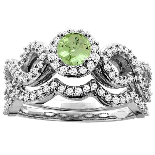 0.95 CTW Peridot & Diamond Ring 14K White Gold - REF-93H2M