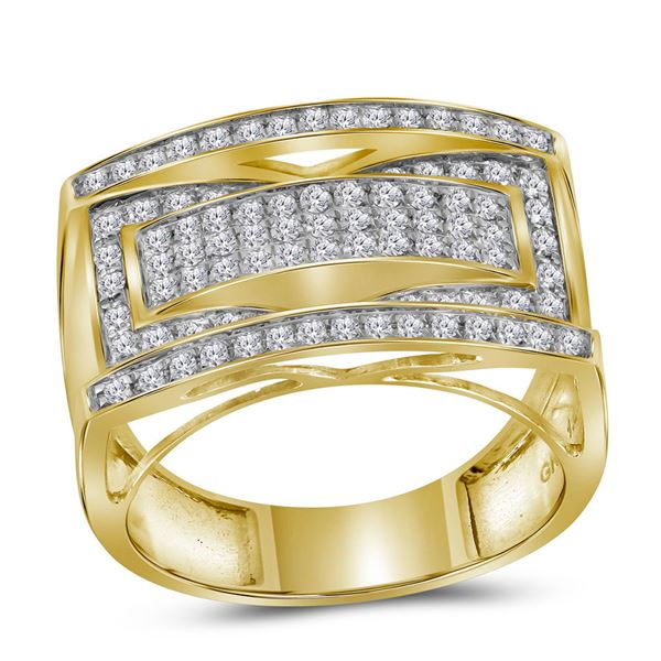 Round Pave-set Diamond Rectangle Cluster Ring 1 Cttw 10KT Yellow Gold