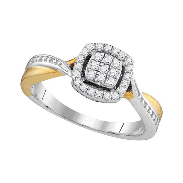 Round Diamond Square Cluster Twist Ring 1/5 Cttw 10KT Two-tone Gold