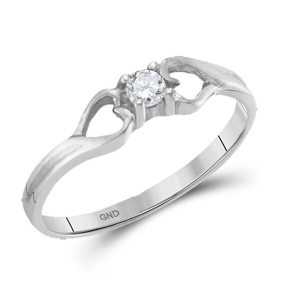 Round Diamond Solitaire Heart Promise Ring 1/10 Cttw 10KT White Gold