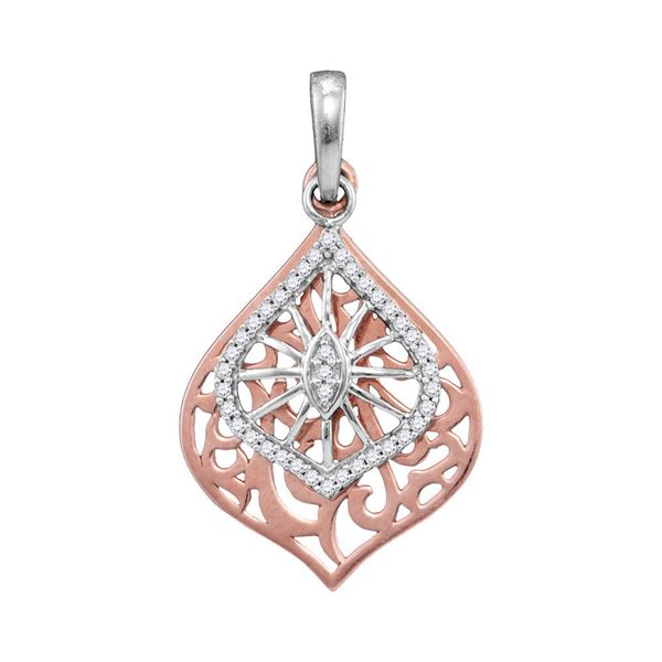 Round Diamond Openwork Wide Oval Pendant 1/8 Cttw 10KT Two-tone Gold