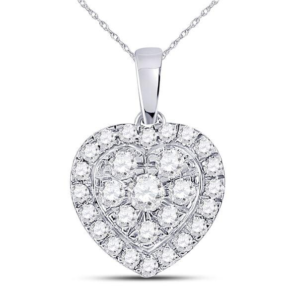 Round Diamond Heart Pendant 1/2 Cttw 10KT White Gold