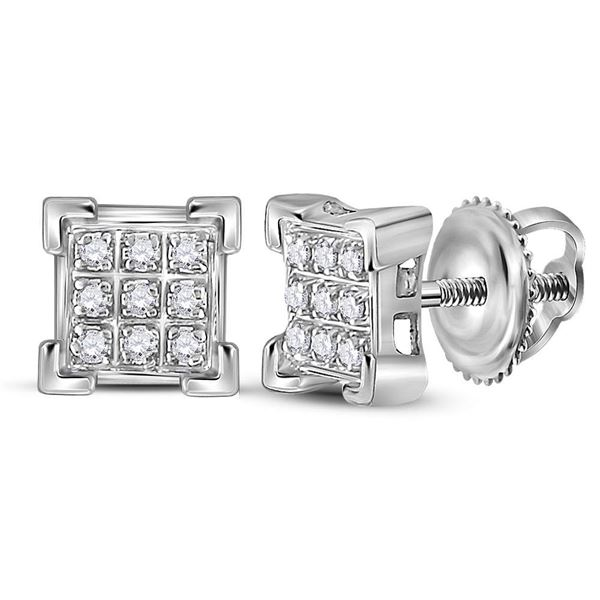 Round Diamond Square Cluster Earrings 1/20 Cttw 10KT White Gold