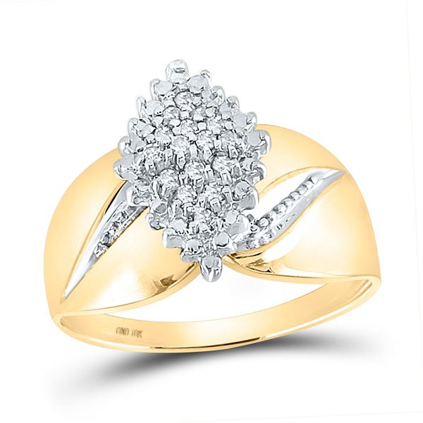 Round Prong-set Diamond Oval Cluster Ring 1/8 Cttw 10KT Yellow Gold