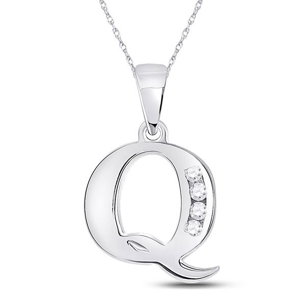 Round Diamond Q Initial Letter Pendant 1/20 Cttw 10KT White Gold