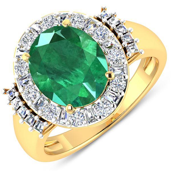 Natural 3.97 CTW Zambian Emerald & Diamond Ring 14K Yellow Gold - REF-168R2F