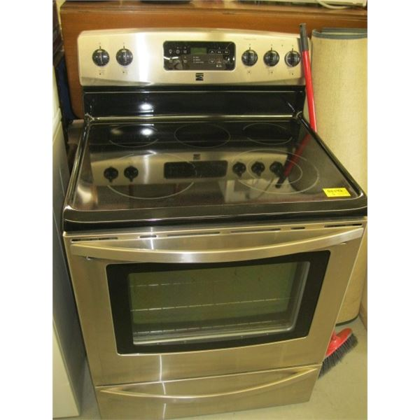 KENMORE STAINLESS & BLACK ELECTRIC STOVE
